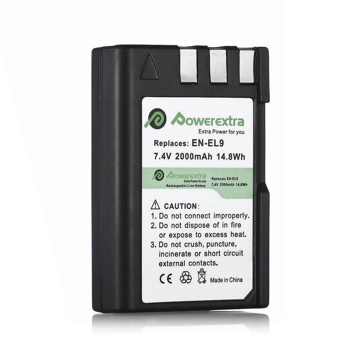Powerextra 2 Pack Nikon EN-EL9 Rechargeable Li-ion Battery for Nikon D40 D40x D60 D3000 D5000 Digital Cameras as Nikon ENEL9 EN-EL9A