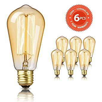Bombilla Edison SEALIGHT Vintage Retro Decorativa Bombillas Lamparas Blanco Cálido ST58 E27 220-240V 60W Antigua Regulable Lámpara Bulbo Filamento (6 ...