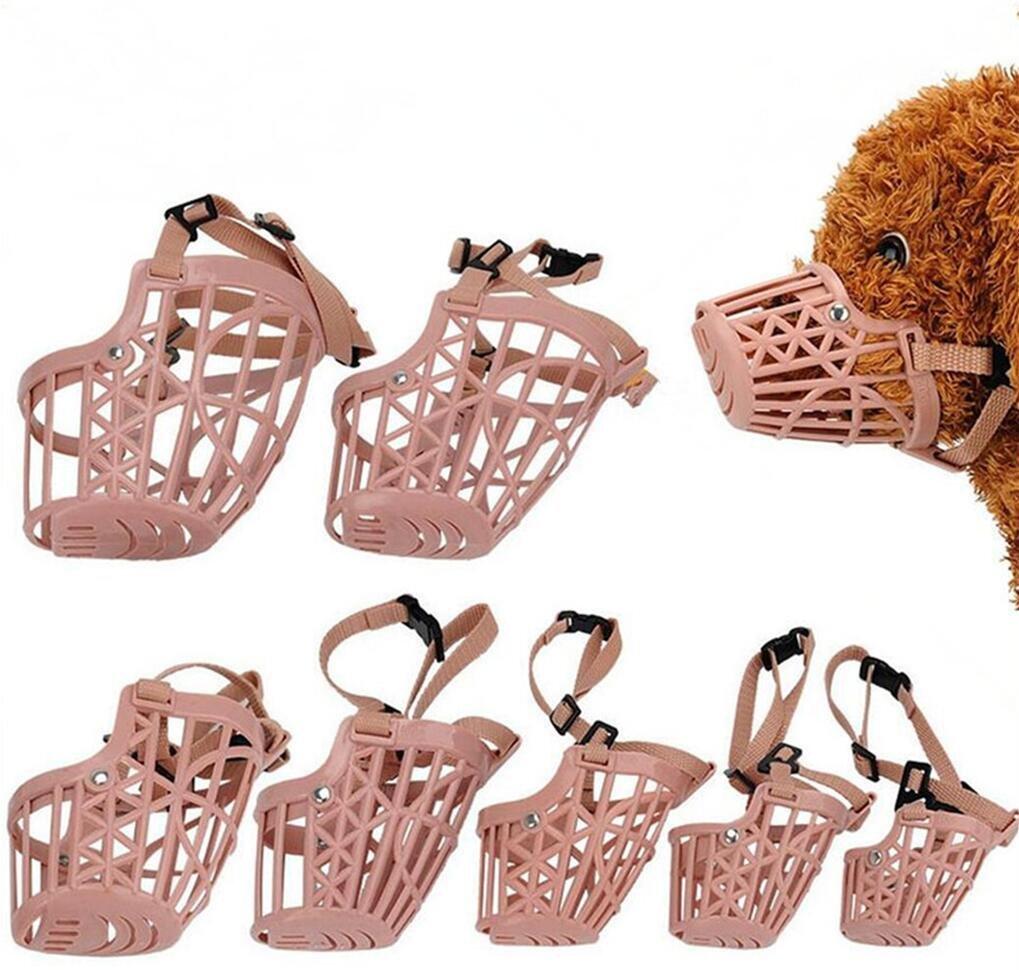 Yusylvia(TM)7pcs/set Plastic Basket Adjustable Dog Muzzle Mask Cage Mouth Mesh