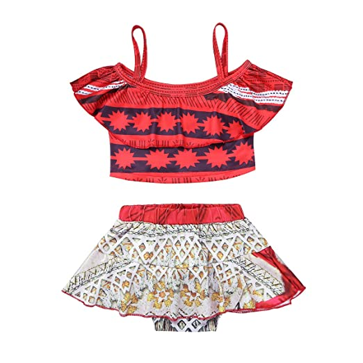 2925f0951e2d8 FEESHOW Kids Girls Princess Swimsuit Bathing Suit Tankini Swimwear  Adventure Outfit Costumes Red 2-3