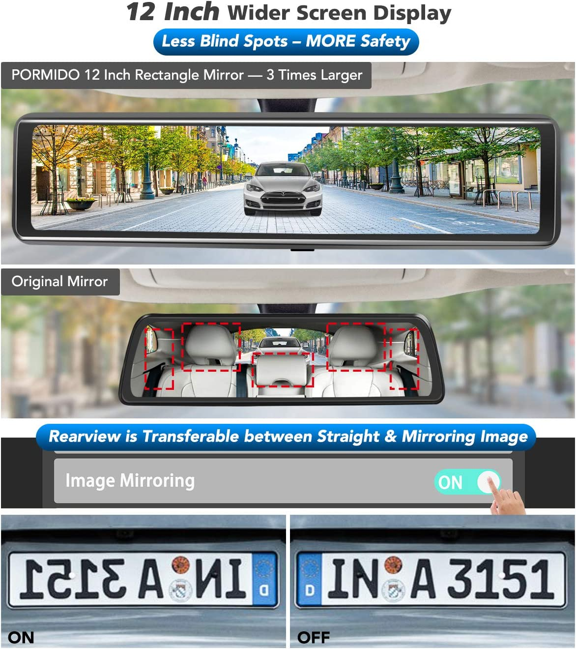 PORMIDO Mirror Dash Cam Front and Rear View Reverse Car Camera,12 Inch Dual Dashcam with Detached Front Camera 360 degree,Anti Glare Full Touch Screen HD1920P,Sony Lens,Night Vision,Parking Monitoring