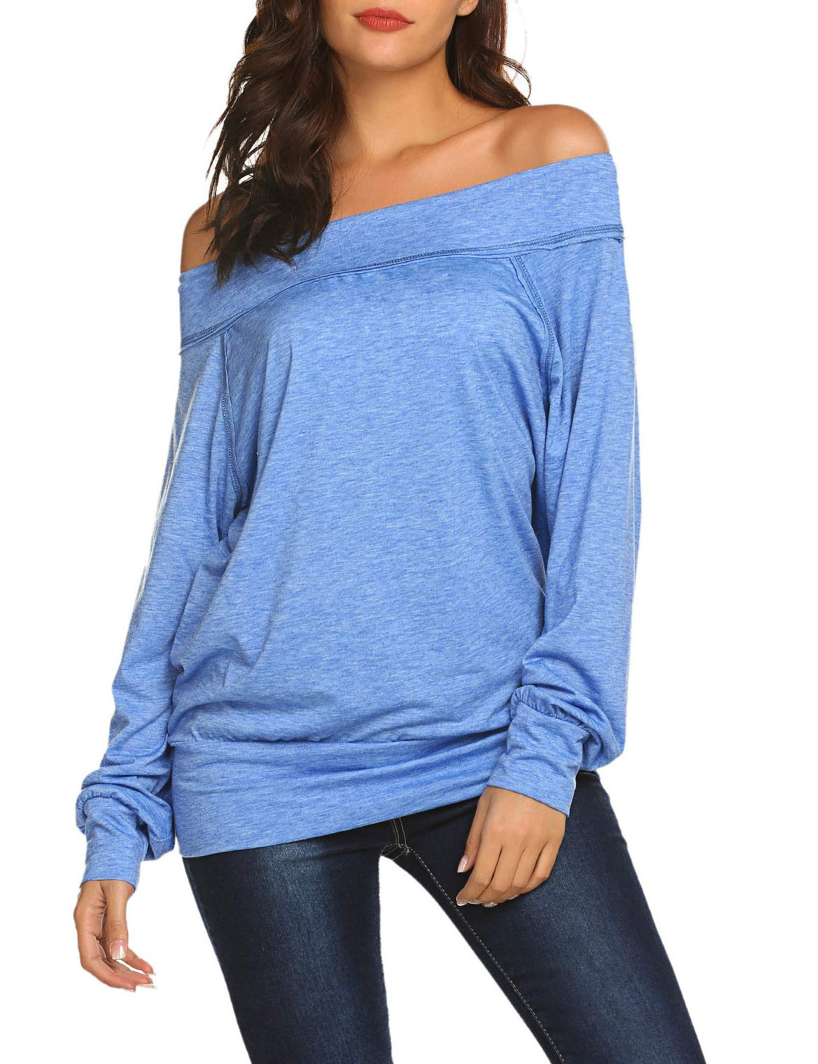 114312ec636a Long Sleeve T Shirts Womens Loose Fitting Blouse Off the Shoulder ...