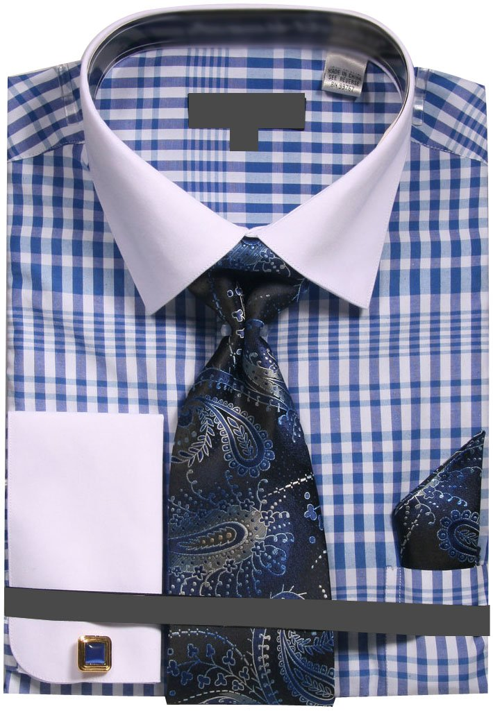 Sunrise Outlet Men's Two Tone Plaid French Cuff Dress Shirt with Tie Handkerchief Cufflinks - Blue 22.5 37-38