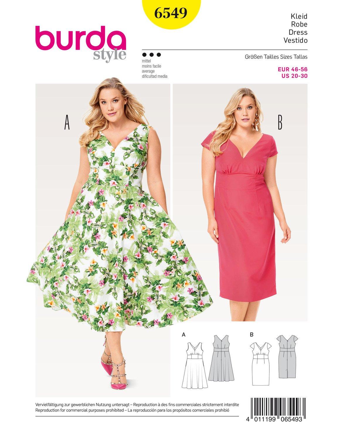 Burda 6549 Schnittmuster Kleid (Damen, Gr. 46-56) Level 3 Mittel ...