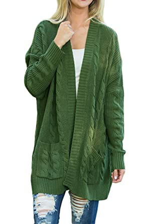 9a96254dd05 Shawhuwa Womens Plus Size Open Front Knit Long Cardigan Sweater with  Pockets S Green