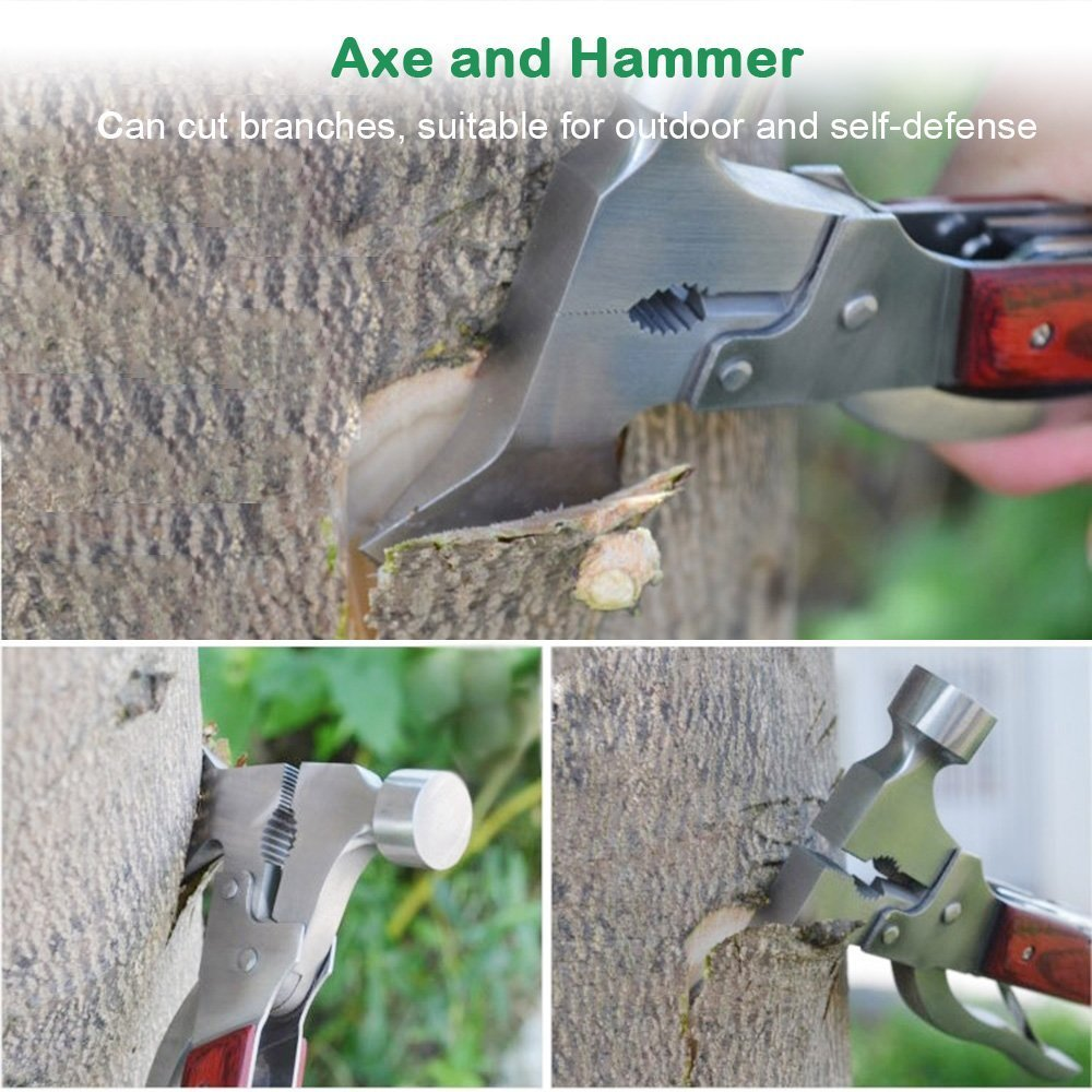 Emergency Escape Axe Hammer, ZENGHAO 16-in-1 Multi-function Alloy Steel Hammer-axe with Plier, Knife, Can Opener, Screwdriver More