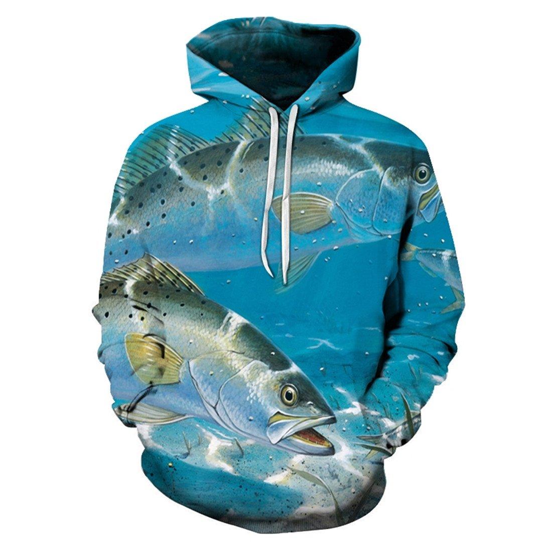 Fashion Sweatshirt 3D Hoodies Print Animal Fish Pattern Slim Unisex Slim Stylish Hooded Hoodies