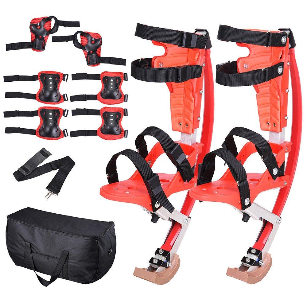 AMPERSAND SHOPS Skid-Proof Junior Jumping Bouncing Kangaroo Stilts Shoes Exercise Sports Gear with Protective Wrist Elbow and Knee Pads Plus Carrying Case by AMPERSAND SHOPS