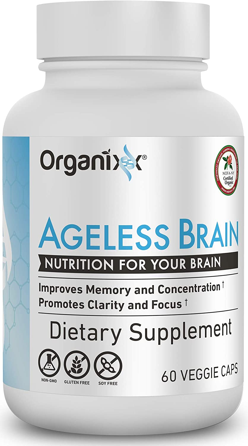 Organixx - Ageless Brain- Powerful Brain Health Support - 60 Capsules - Boost Memory Power, Clarity and Focus, Re-Energize Brain Cells, Promote a Balanced Mood