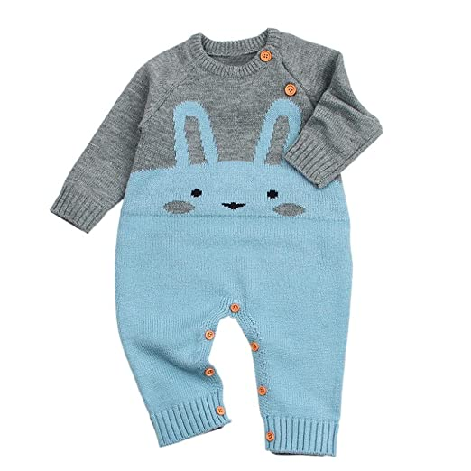 09165847cc1e Sunbona Toddler Baby Boys Girls Patchwork Knitted Cartoon Long Sleeve  Romper Jumpsuit Cotton Warm Pajamas Outfits