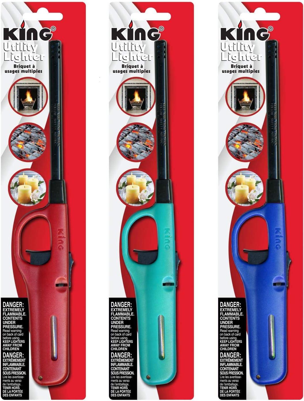 3 Pack King BKOU172 Multi Utility Lighter Assorted Colors: Home & Kitchen