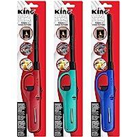3 Pack King BKOU172 Multi Utility Lighter Assorted Colors