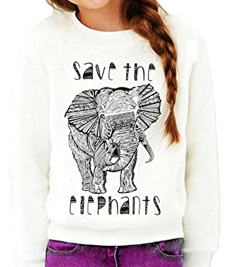0360576c6 Amazon.com  Queen Apparel Save The elephants- -sweatshirt Eco Friendly-   Clothing