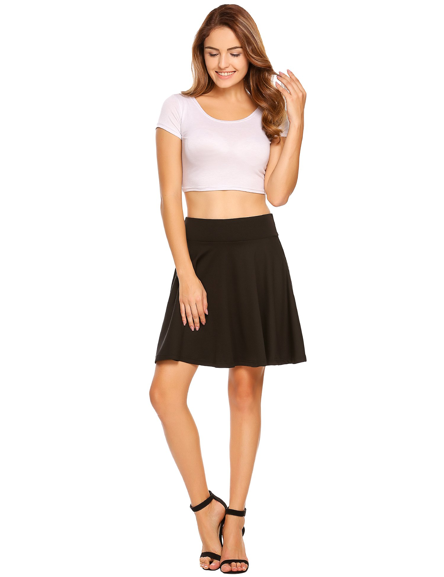 Shine Women Wide Elastic Waist A-Line Full Flared Swing Skater Short Mini Skirt