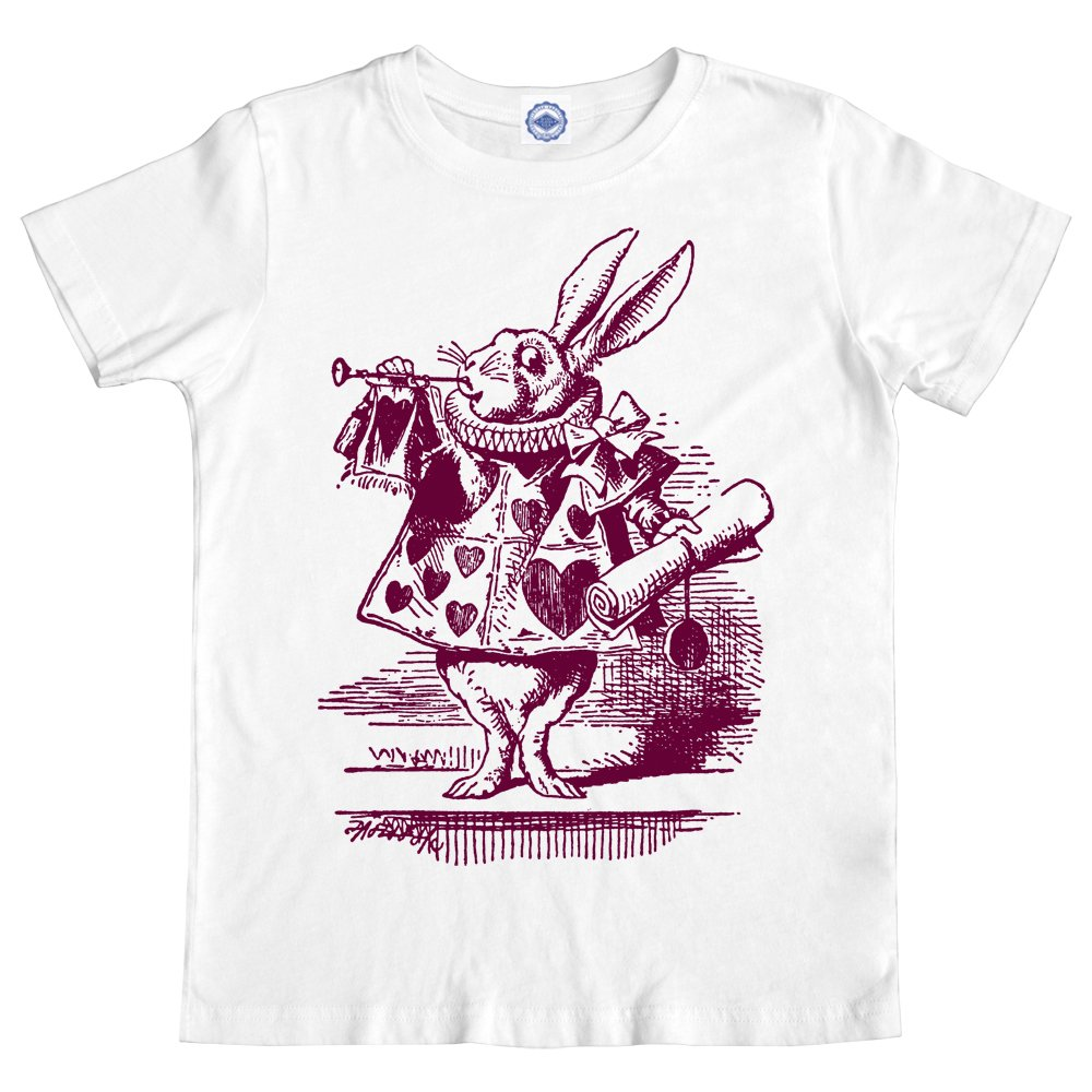 White Rabbit In Wonderland Girls T-Shirt Hank Player U.S.A