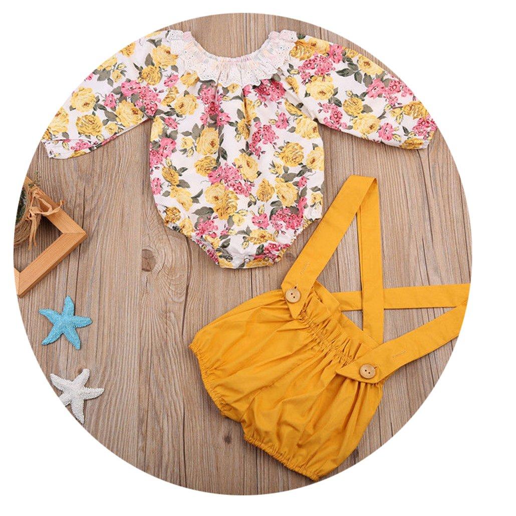 qingdg Newborn Baby Girls Princess Floral Long Sleeve Romper Suspenders Short Pants Jumpsuit