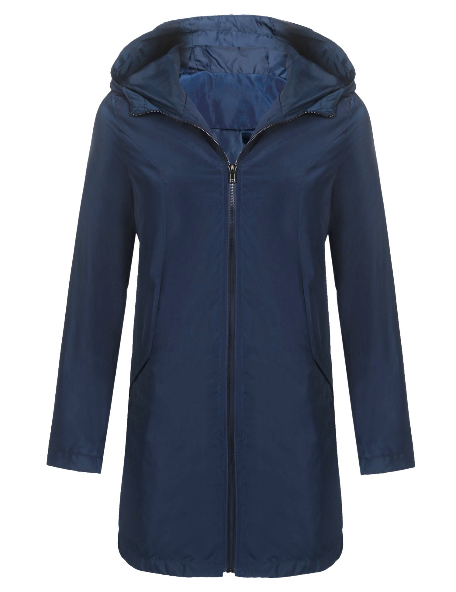 Zeagoo Womens Travel Trench Waterproof Raincoat Hoodie Windproof Hiking Packable Jacket Dark Blue XXL