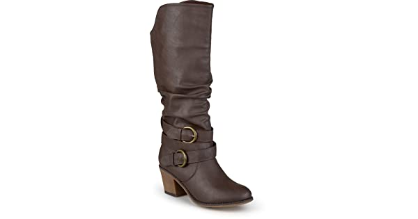 37520091a9dd Journee Collection Women s Wide Calf Buckle Slouch High Heel Boots Dark  Brown