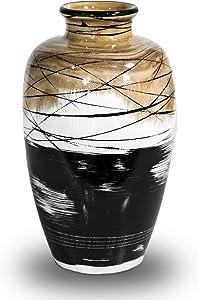 Natural Wood Vase Decorative Vases Handmade Handpainted Wooden Flower Vase for Home Decoration 7.1 X 11.8