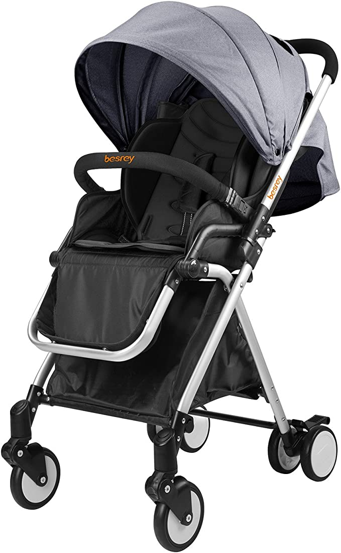 besrey Xe đẩy Cane Urban Pram trọng lượng nhẹ, Xe đẩy gấp có nắp che mưa, cho trẻ sơ sinh 6-36 tháng, tải trọng tối đa 15kg