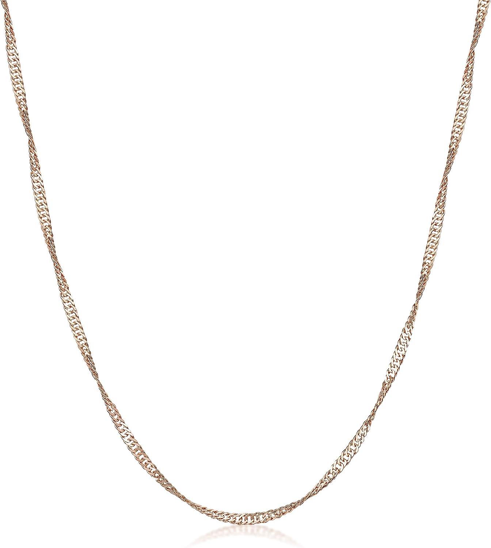 Largeur 2 mm Maille Singapour Amberta/® Bijoux Longueur 40 45 50 55 60 70 cm Plaqu/é Or Ros/é 14K Collier Cha/îne Argent 925//1000