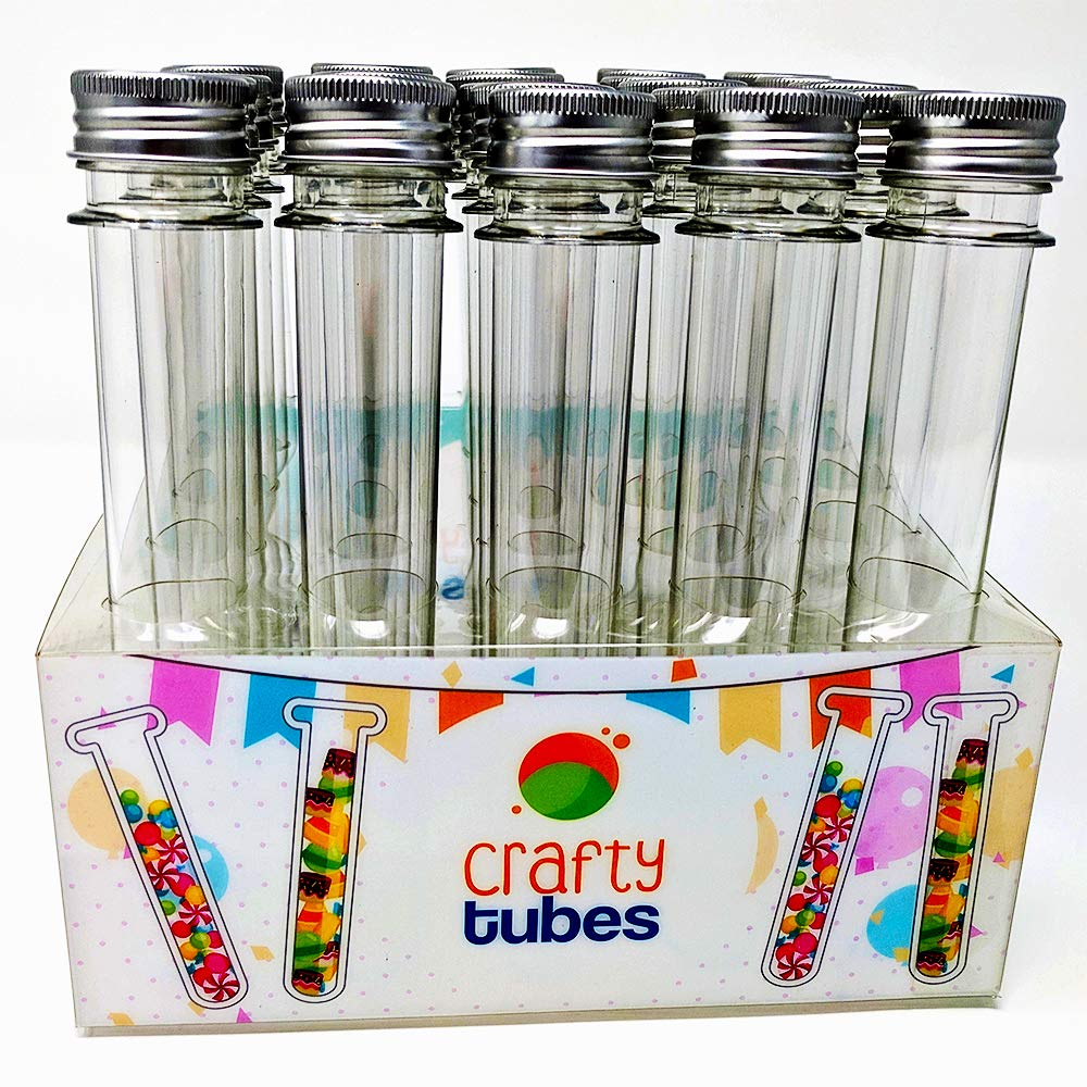 Crafty Tubes 25 Ultra Long Clear PET Plastic Test Tube Tubes Set with Thin Rack Holder, Wire Brush,Caps & 32 Labels|25mm x 178mm (60ml) - Candy, Bath Salt Containers & Craft Storage, Wedding Favours by Crafty Tubes