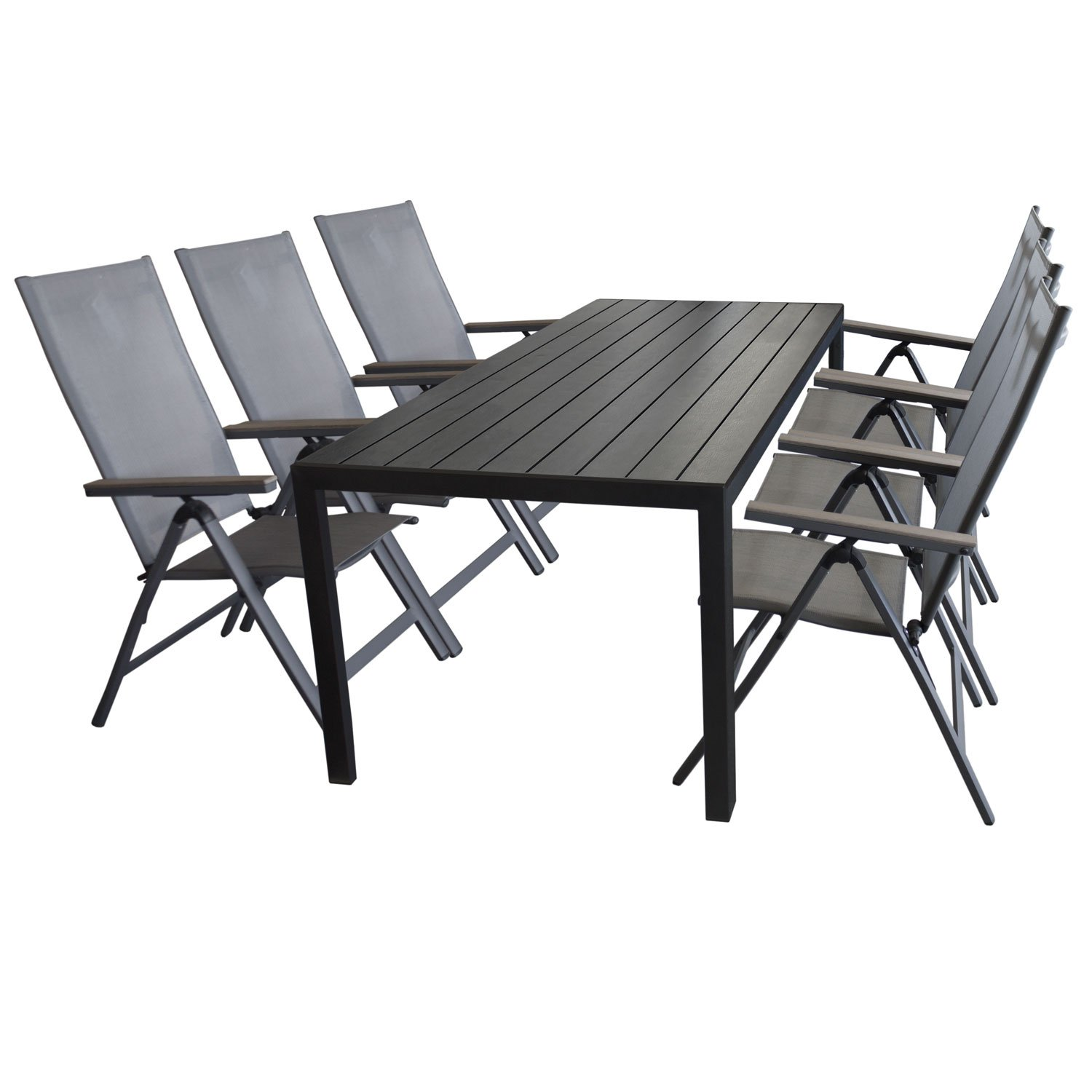 gartengarnitur gartenm bel set sitzgruppe gartentisch polywood tischplatte schwarz 205x90cm. Black Bedroom Furniture Sets. Home Design Ideas