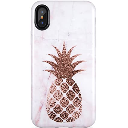 iPhone X Case,iPhone Xs Case, A Pineapple and Marble,ZADORN Slim Fit Cute  for Women Girls Clear Bumper Soft Silicone TPU Thin Cover Best Protective