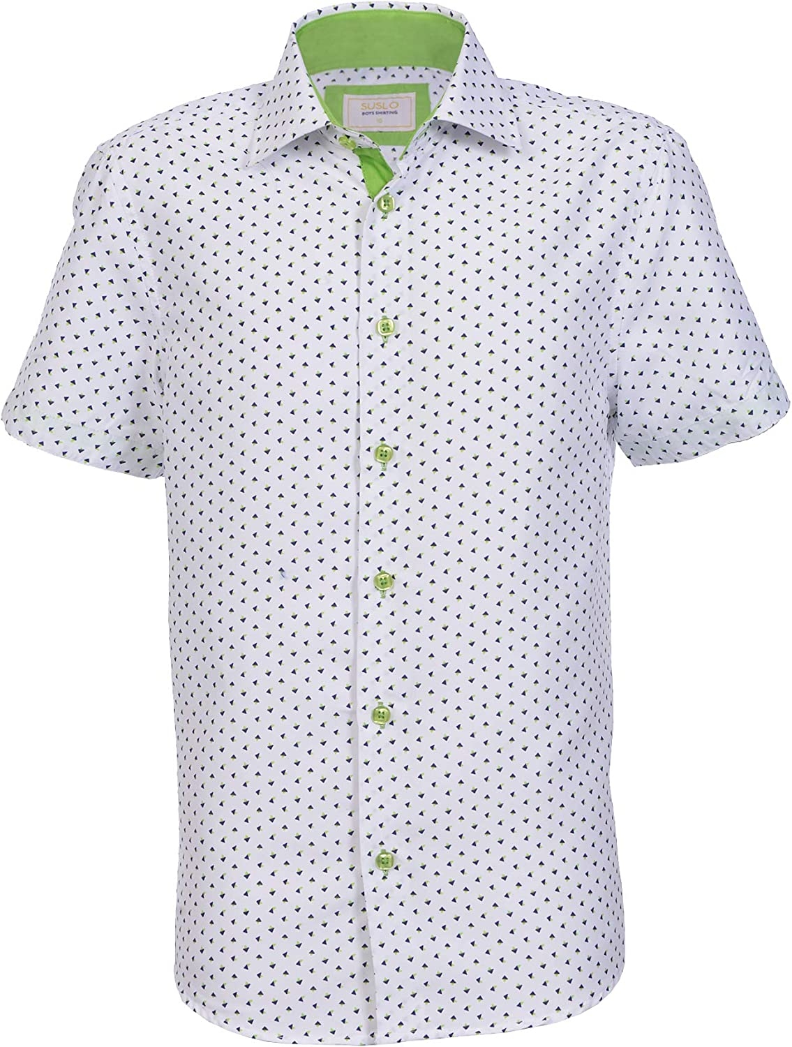 Suslo Couture Boy's Button-Front Short-Sleeved Woven Shirt