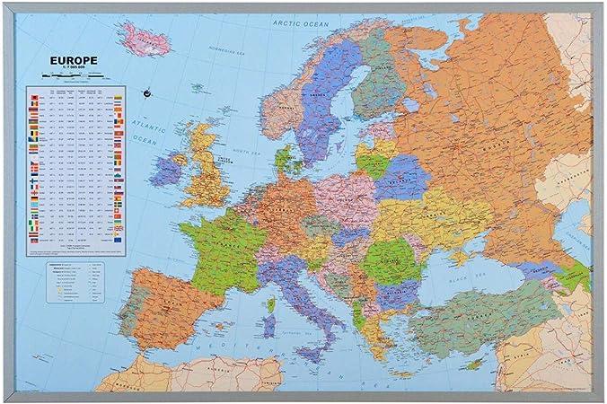 Mapa del mundo de la pared XXL - incluyendo 12 banderas de marcador - corcho - 90 x 60 cm - Mapa de Europa: Amazon.es: Hogar