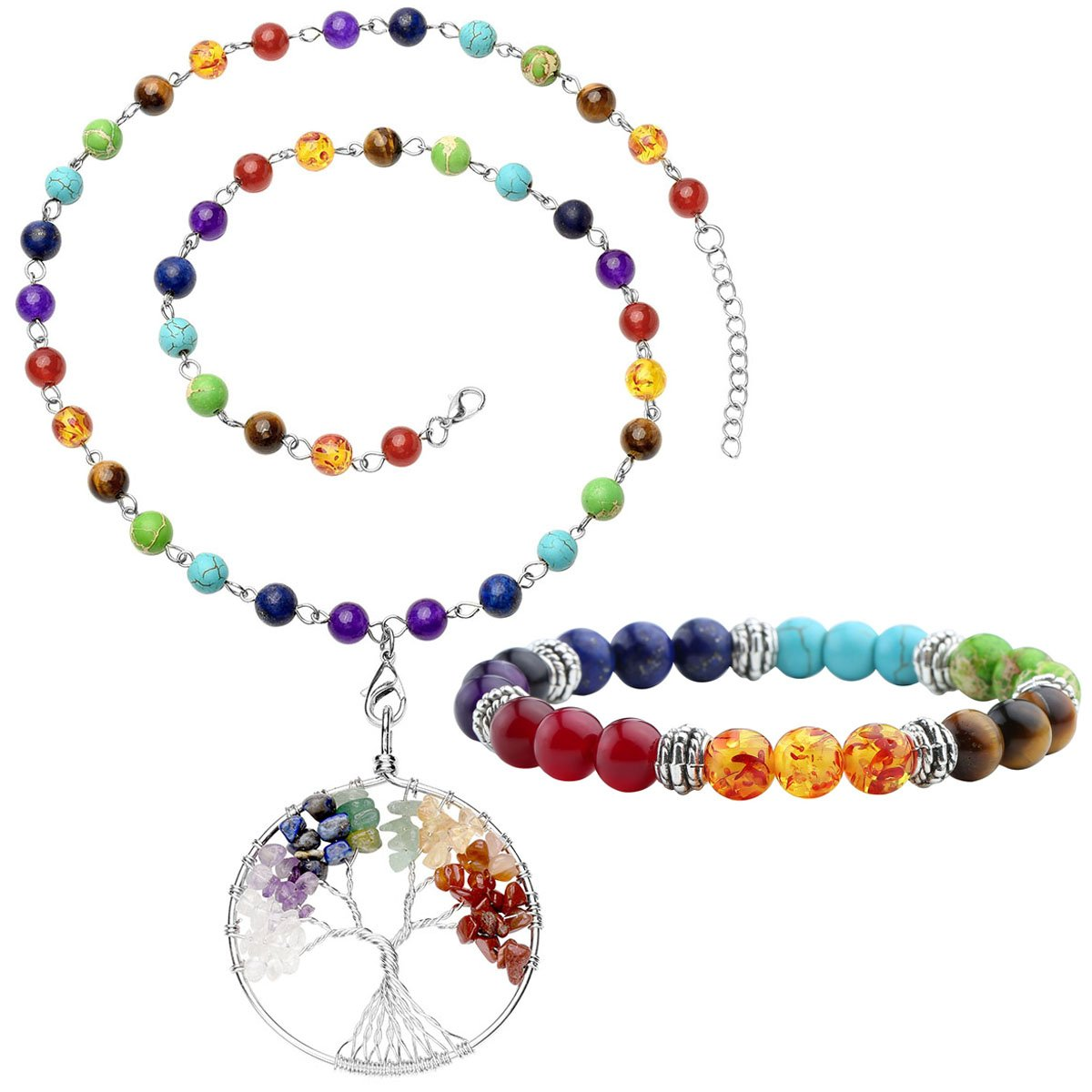 Top Plaza 7 Chakra Gemstones Tree of Life Healing Crystal Energy Yoga Balance Meditation Semi Precious Beads Necklace Bracelet Set(#1 Silver Round)