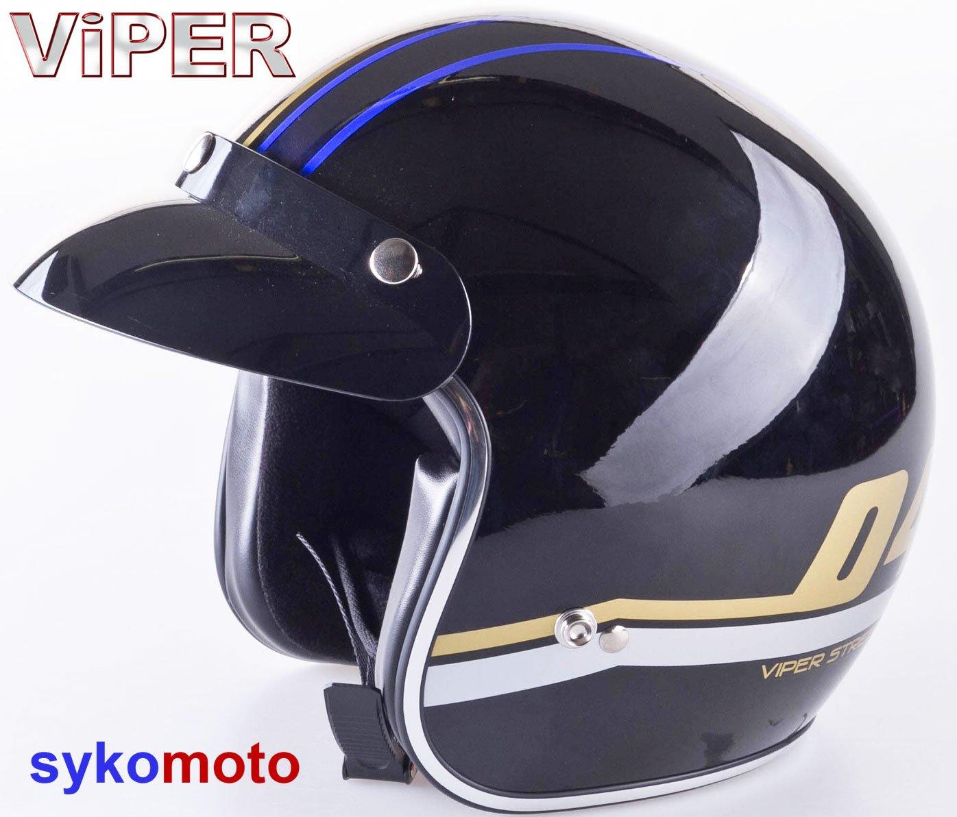 Casque vintage de protection Paulson Peak - Pour moto - Design ouvert sur visage - Visiè re inté rieure - Bleu Motohart RS-V06