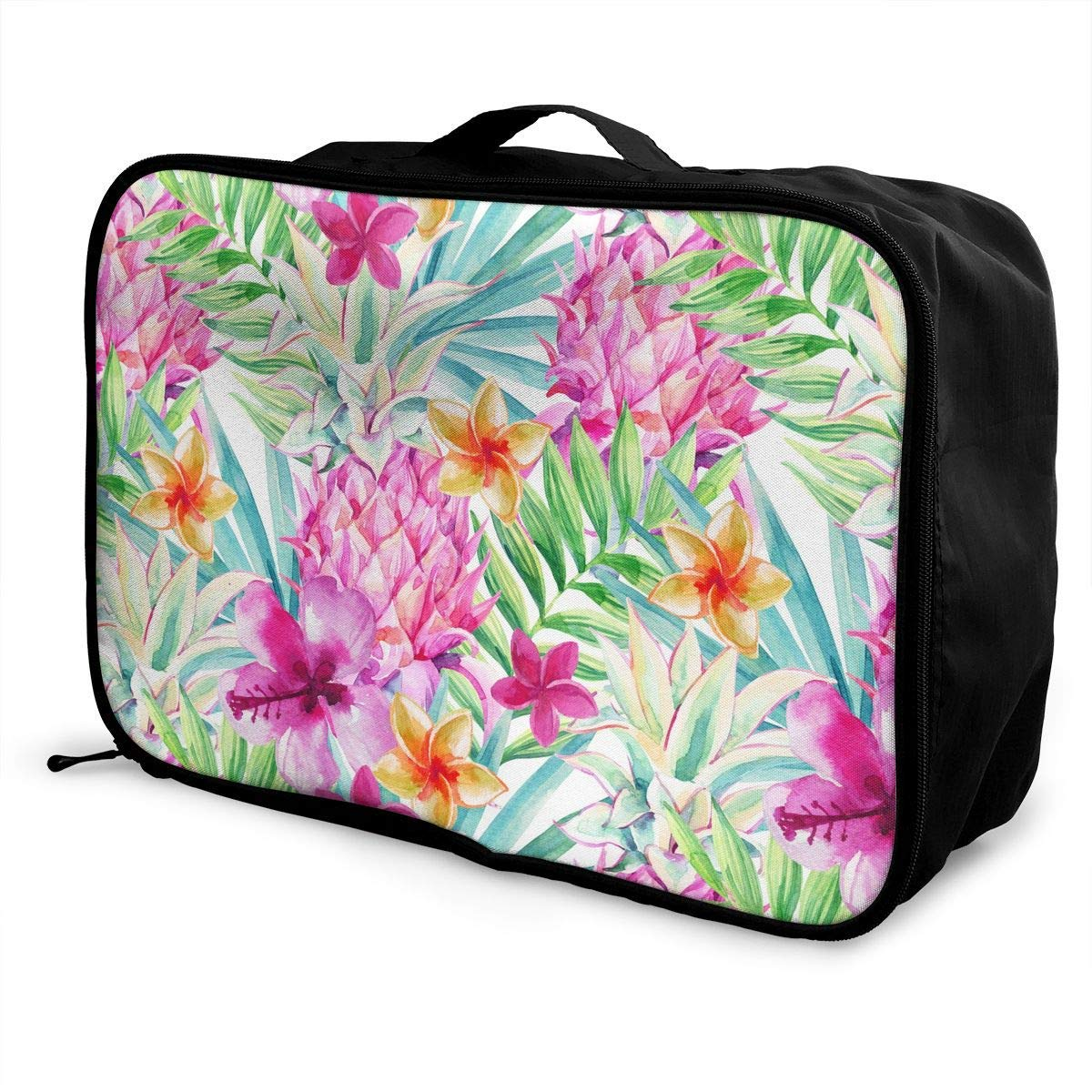 JTRVW Travel Luggage Trolley Bag Portable Lightweight Suitcases Duffle Tote Bag Handbag Pineapple With Palm Leaves And Flowers Pattern