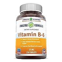 Amazing Nutrition Vitamin B6 Dietary Supplement – 25 mg, 250 Tablets (Non-GMO,Gluten...