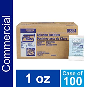 P&G Professional Bulk Dish Chlorine Non-Rinse Restaurant Sanitizer by Clean Quick Professional, for use in Commercial Kitchens on Food-Processing Equipment/Utensils or as Sanitizer for Glass, Dishes, and Silverware, 1 oz. Packets (Case of 100) - 10037000025846