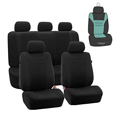FH Group FB054115 Black Cosmopolitan Flat Cloth Full Set Car Seat Covers, (Airbag Compatible & Split Bench) w Gift, Solid Black Color -Fit Most Car, Truck, SUV, or Van: Automotive