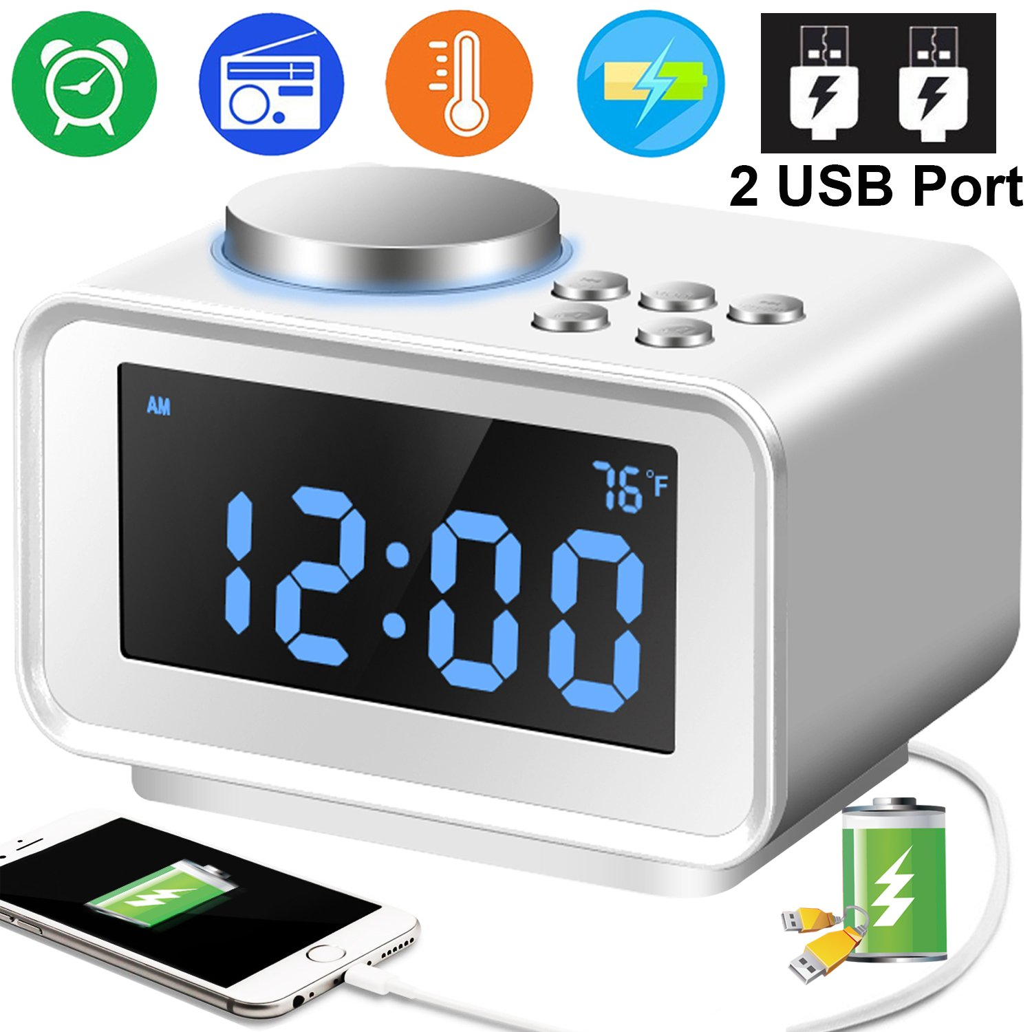 Duperym Radio Alarm Clock Digital FM Clocks Radio with 2 USB Phone Charging Port for iPhone Android 12H/24H - 3.2'' LCD Display 6 Dimmer for Women Men Travel Bedrooms Kitchen Office