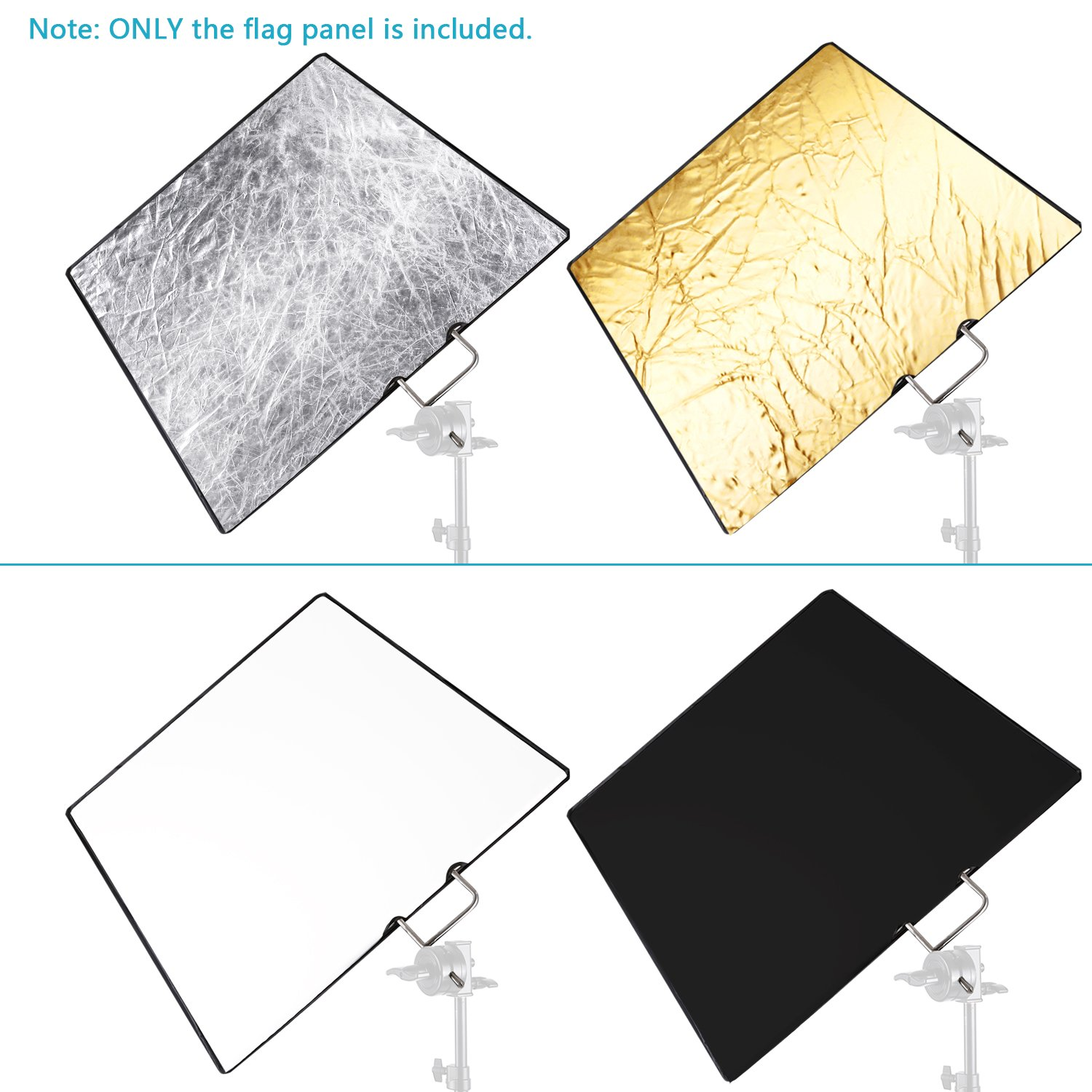 Neewer 30x36 inches 4-in-1 Metal Flag Panel Set Reflector with Soft White, Black, Silver and Gold Cover Cloth for Photo Video Studio Photography by Neewer (Image #3)