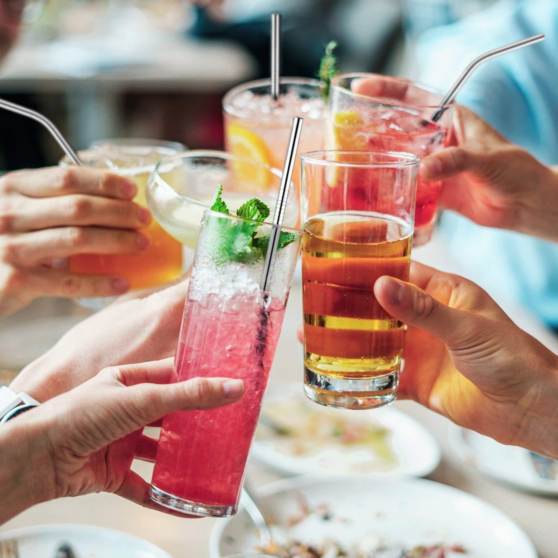 ECC Feste Set di 8 Cannucce Cocktail in Metallo con Spazzole per la Pulizia e Borsa in Paglia Ecologica per Casa ADOV Cannucce Rriutilizzabili in Acciaio Inossidabile Picnic