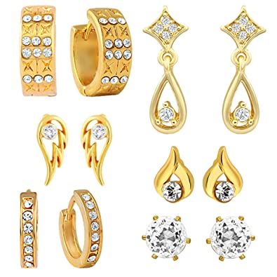 212d33e35 Buy Mahi Combo of Gold Plated Bali and Stud Earrings with CZ for Women  Online at Low Prices in India
