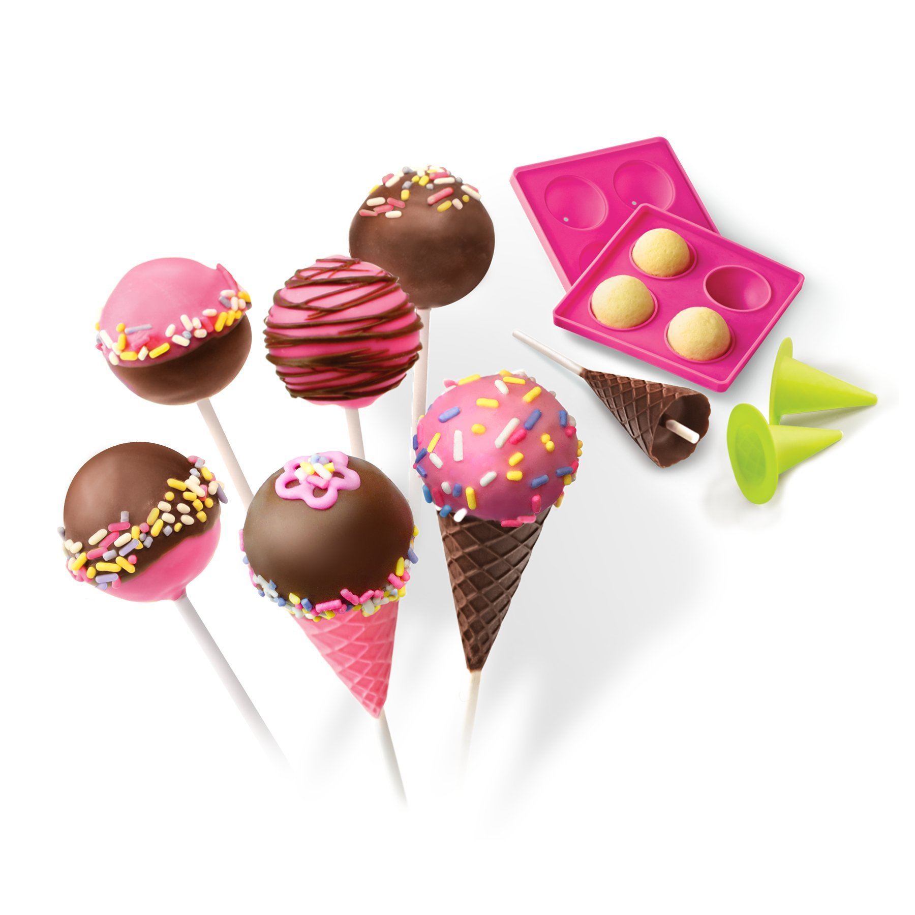 Real Cooking Cake Pops & Cones Baking Set - 15 Pc. Cake Mix, Sprinkles & Candy Included