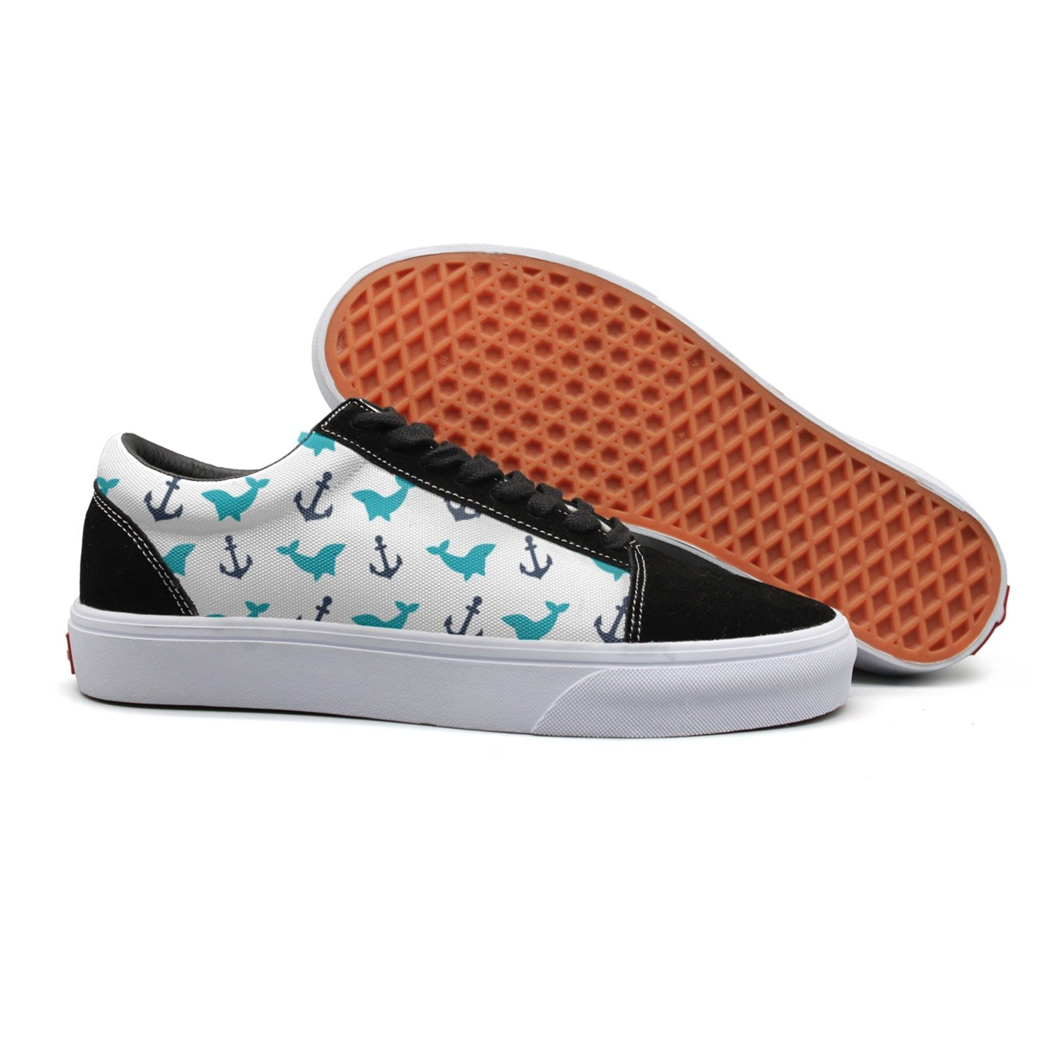 Print Trendy Anchor Whale Low Top Canvas Sneakers