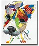 SEVEN WALL ARTS - 100% Hand Painted Oil Painting Animal Cute Dog with Stretched Frame (20 x 24 Inch, A Lovely Dog)