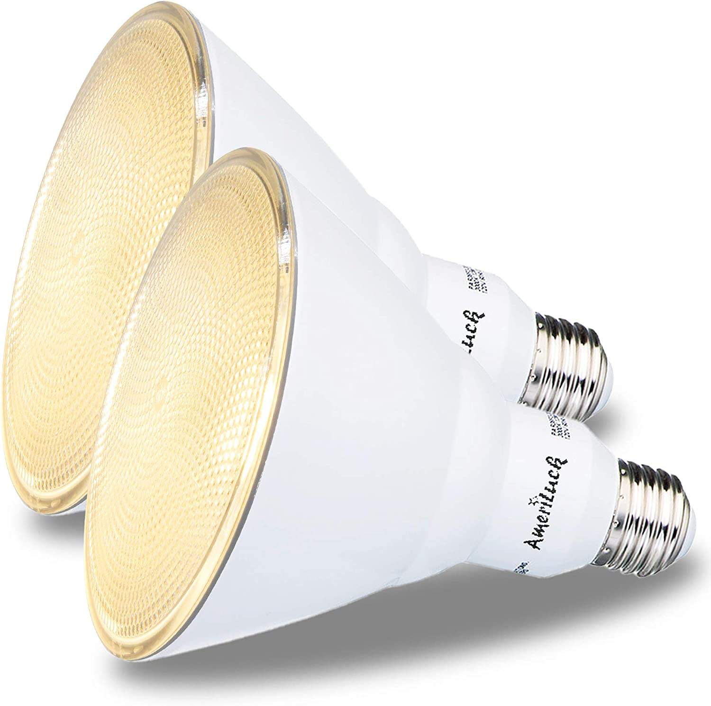 100W Equiv AmeriLuck Dimmable Outdoor PAR38 LED Flood Light Bulb 3000K   Warm White, 2 Pack 1050 Lumens 13W