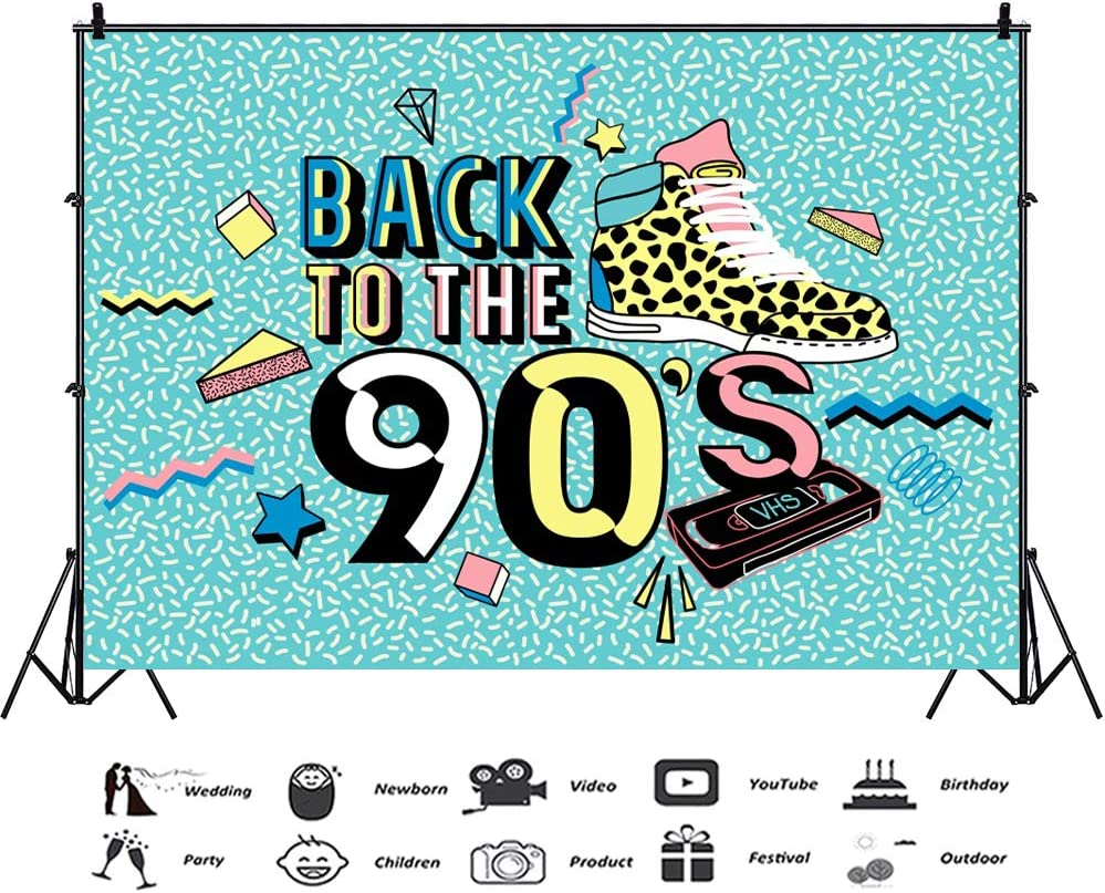 Leowefowa 10x8ft Vinyl Photography Backdrop 90s Themed Party Backdrop Back to The 90s Photo Background 1990s Event Party Decoration Birthday Backdrop Portrait Photo Props Studio Photo Booth Backdrop