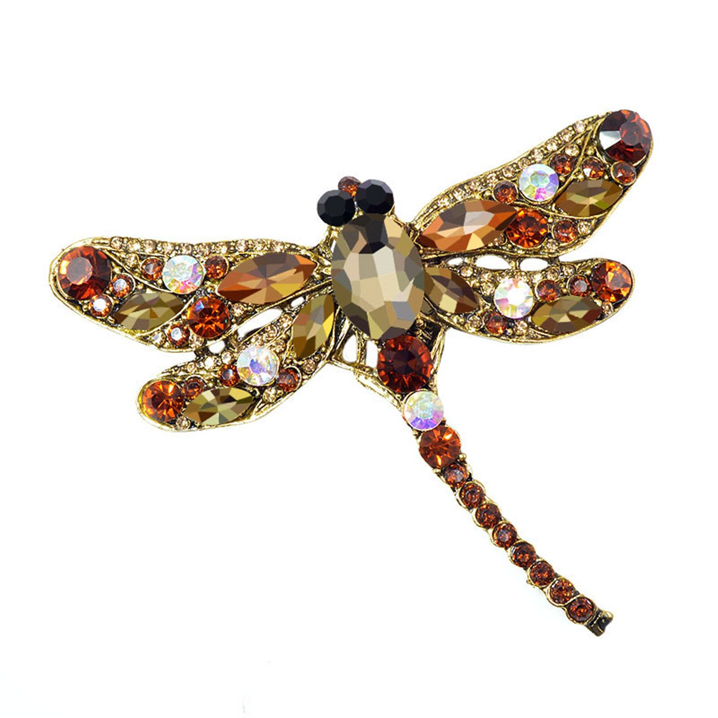 Crystal Vintage Dragonfly Brooches for Women Large Insect Brooch Pin Fashion Dress Coat Accessories Cute