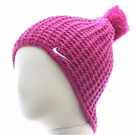 9e229bef Amazon.com: Nike Girl's Pom Pom Fireberry Knit Winter Beanie Hat Sz: 4/6X:  Clothing