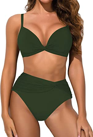 Mujer Push Up Set de Bikini Traje De Baño Bañador 2 pieza ropa Frente Hebilla