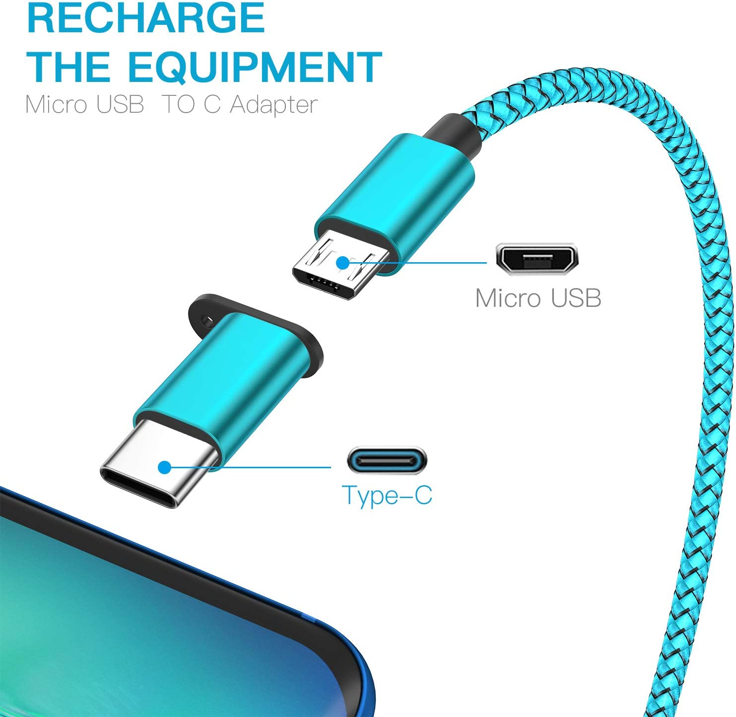 Nylon Braided Fast Charging Cord 6ft Compatible with Samsung Galaxy S10 S9 Note 9 8 S8 Plus,LG V30 V20 G6 G5,Google Pixel USB 2.0 USB Type C Cable OULUOQI USB C Cable 3 Pack Black Blue