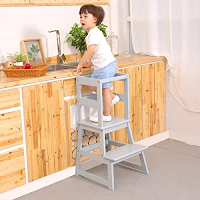 UNICOO - Kids Learning Stool, Kids Kitchen Step Stool, Toddler Stool with Safety Rail-Solid Hardwood Construction. Perfect for Toddlers - (LT01-Light Grey): Kitchen & Dining